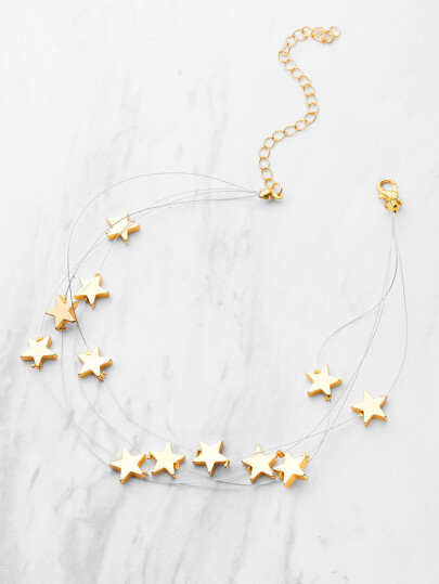 Metal Star Design Layered Necklace