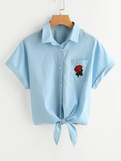 Rose Patch Pocket Tie Front Cuffed Blouse