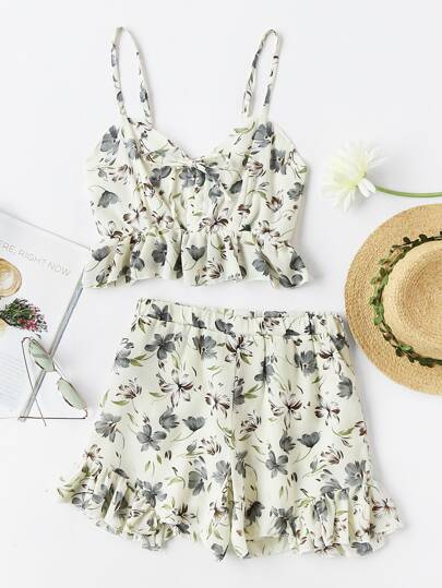 Ditsy Print Random Tie Neck Frill Cami Top With Shorts