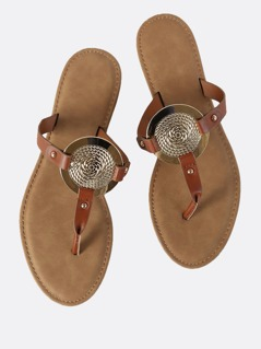 Gold Disc Faux Leather Sandals CHESTNUT