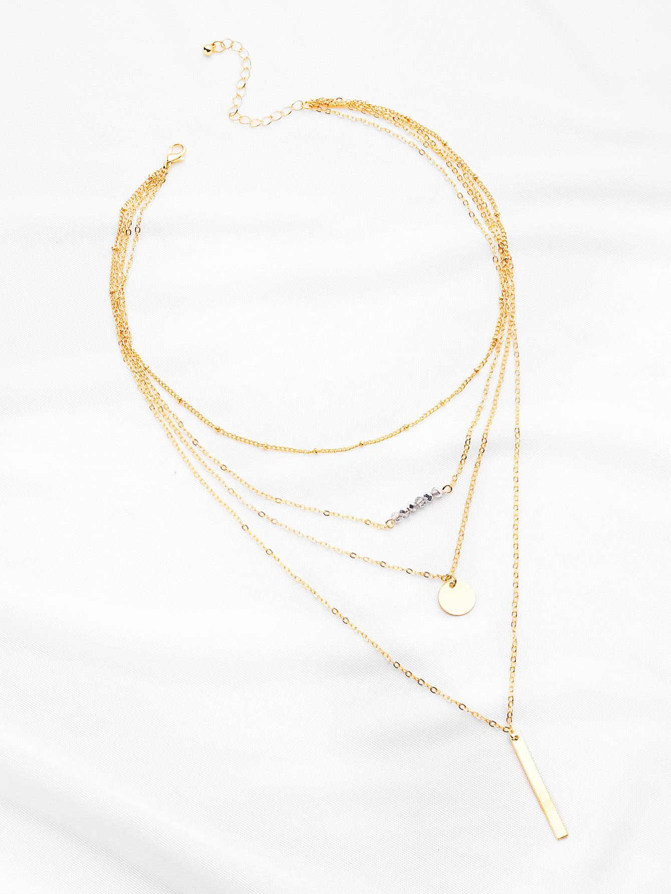 Фото Crystal And Bar Pendant Necklace. Купить с доставкой