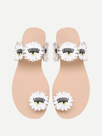Embroidery Detail Toe Ring Flower Sandals
