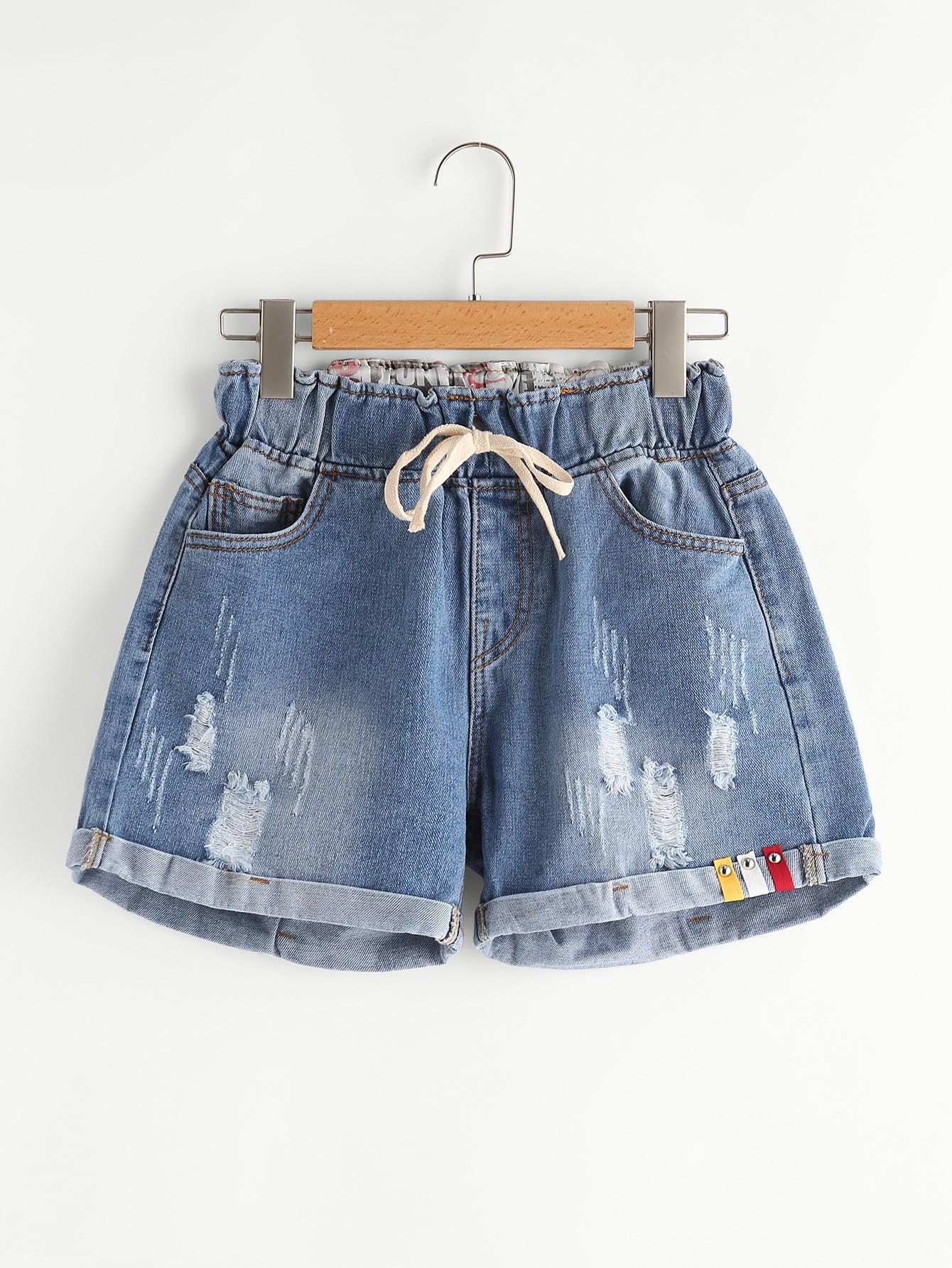 Фото Distress Drawstring Waist Cuffed Denim Shorts. Купить с доставкой