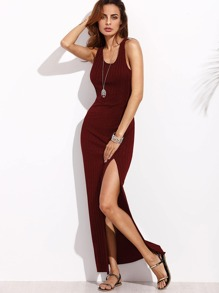 Rib Knit High Slit Racerback Dress