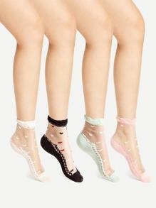 Ruffle Cuff Sheer Ankle Socks 4pairs