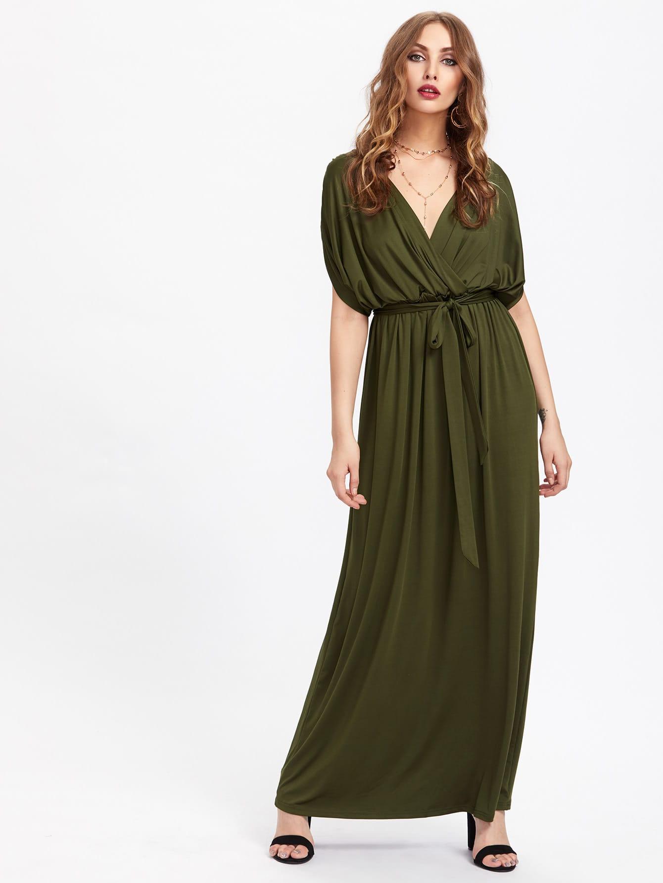 Surplice Neckline Self Tie Kaftan Dress