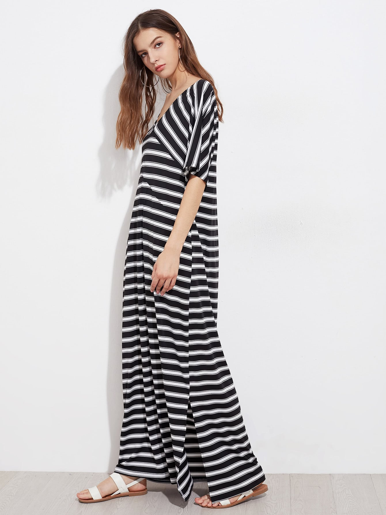Фото Contrast Striped Slit Side Kaftan Dress. Купить с доставкой