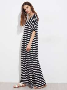 Contrast Striped Slit Side Kaftan Dress