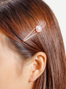 Geometric Faux Pearl Decorated Hair Clip