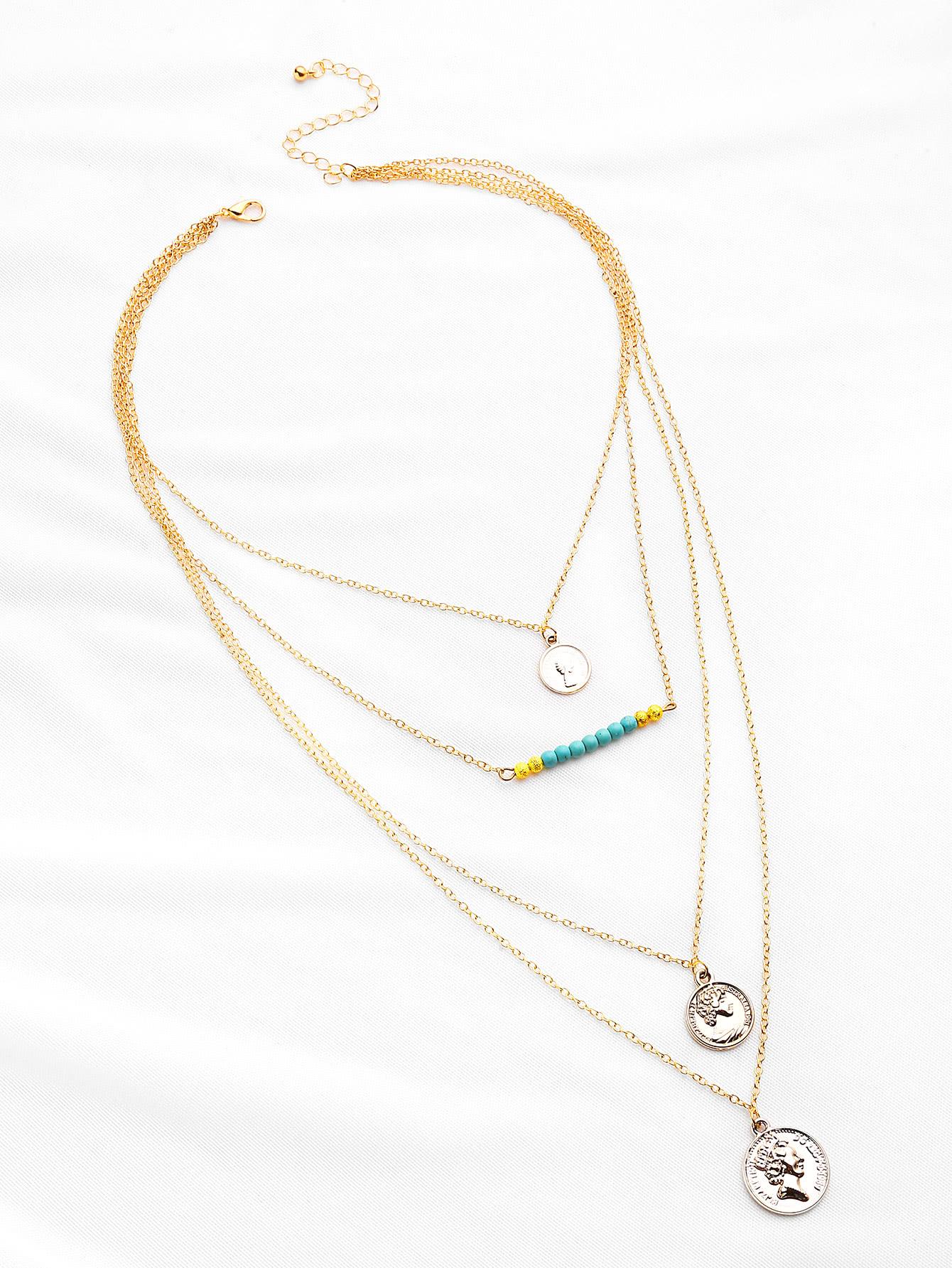 Фото Coin Fringe Pendant Layered Necklace. Купить с доставкой