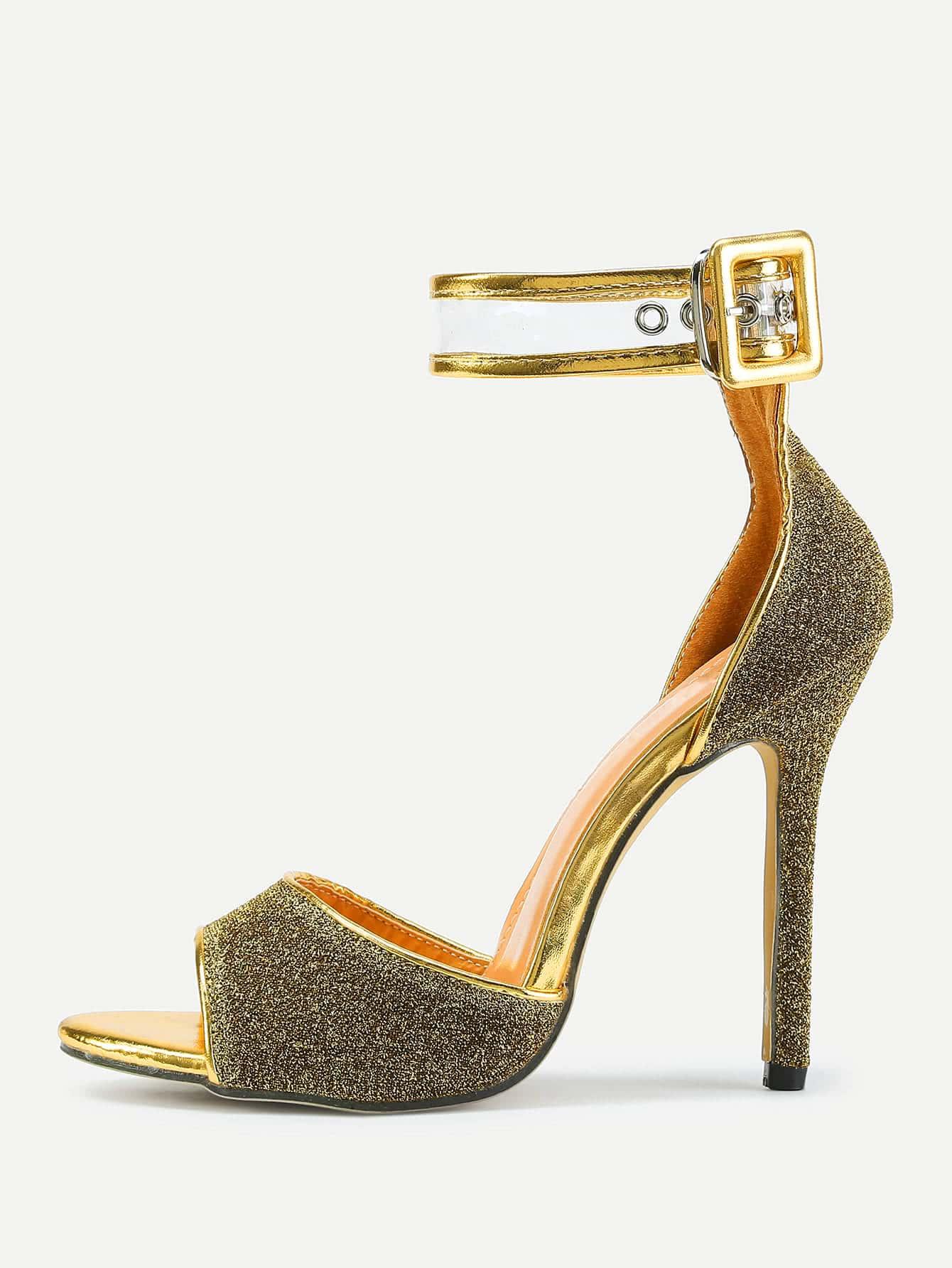 Фото Peep Toe Ankle Strap Stiletto Heeled Sandals. Купить с доставкой