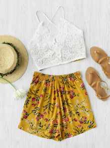 Lace Panel Criss Cross Bow Back Crop Cami Top With Shorts