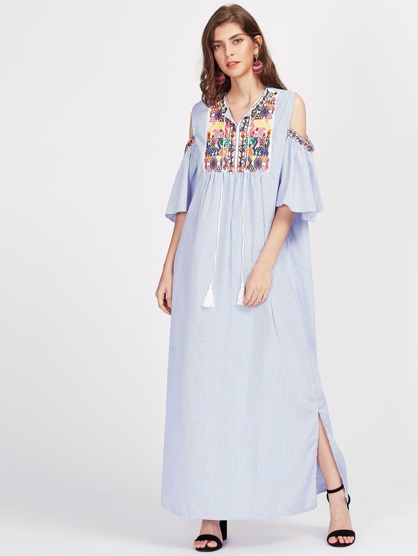 Aztec Embroidered Open Shoulder Tassel Tie Neck Pinstriped Dress dress170612002