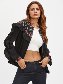 Frill Trim Embroidered Yoke And Cuff Bomber Jacket