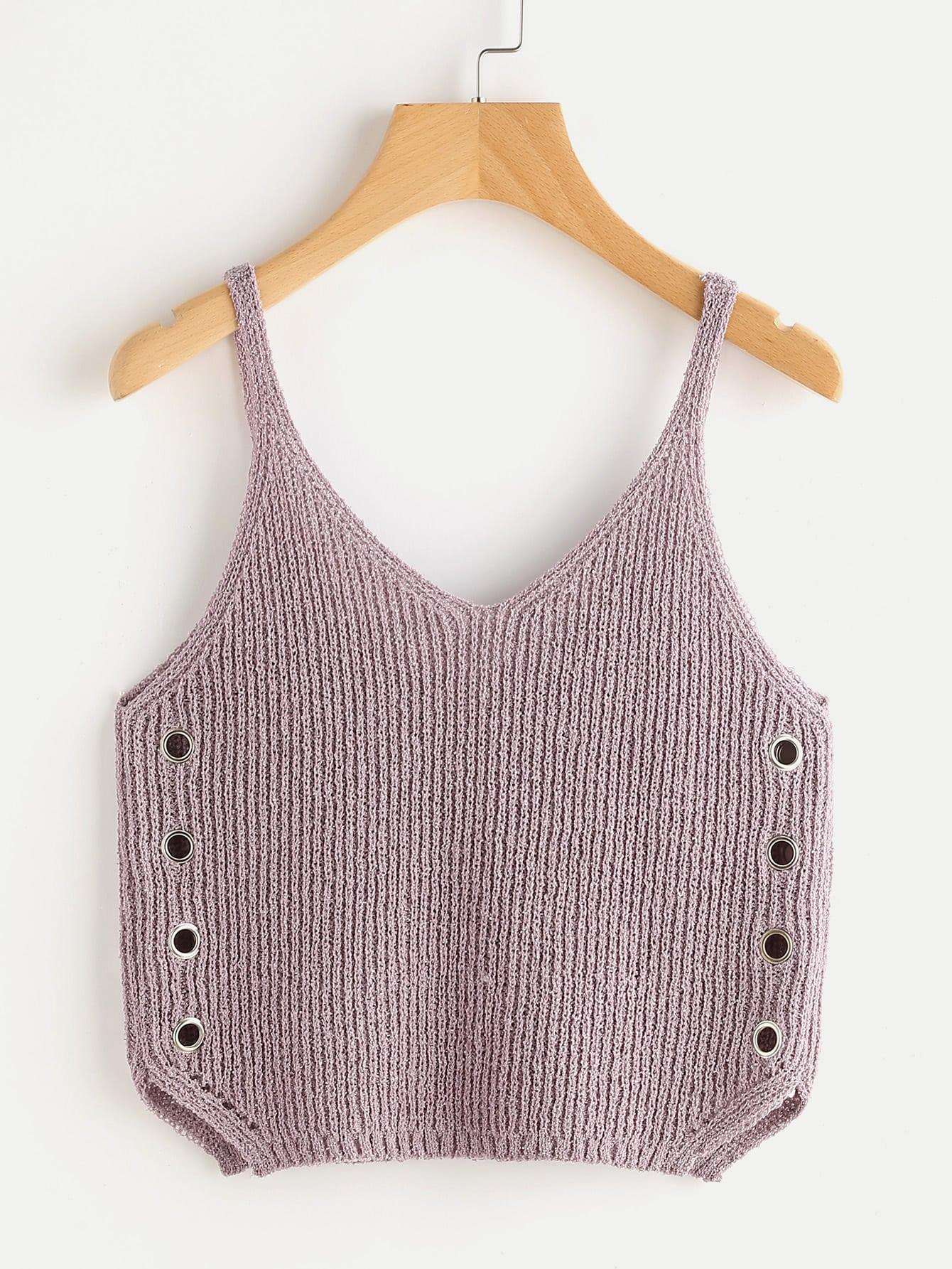 Фото Grommet Detail Knit Top. Купить с доставкой