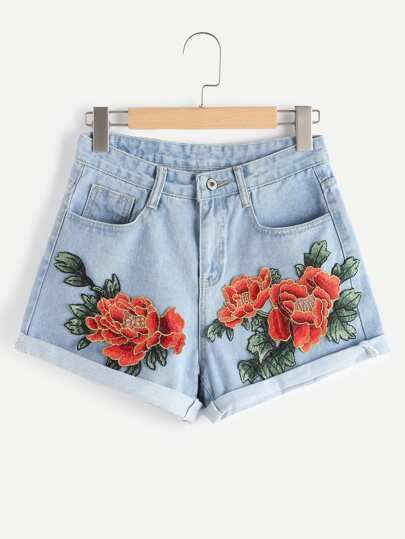 Rose Applique Cuffed Denim Shorts