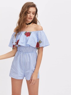 Embroidered Rose Applique Checkered Frill Bardot Romper