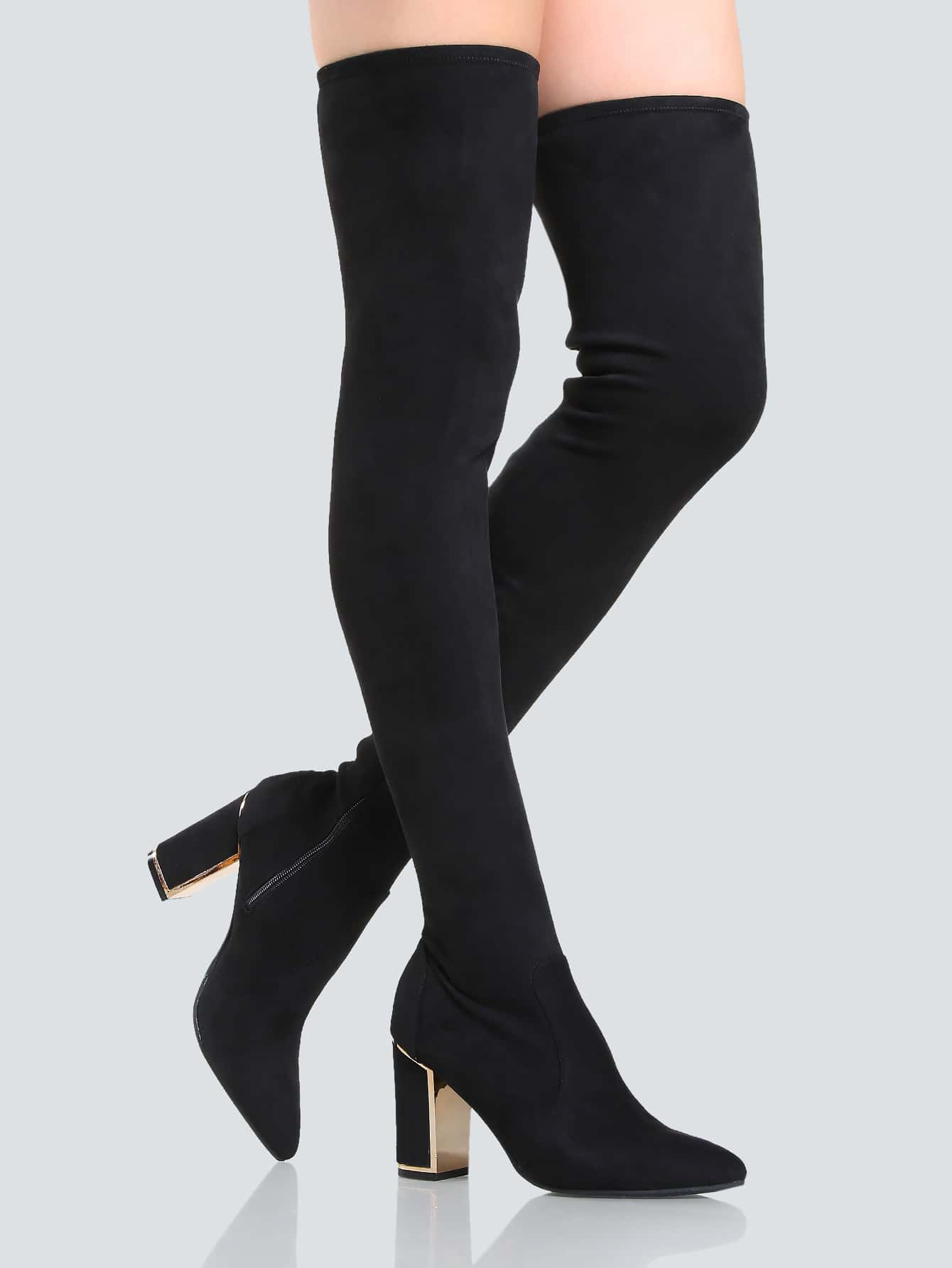 Faux Suede Point Toe Thigh High Booties BLACK