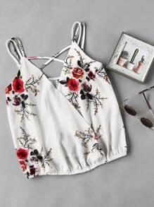Double Cami Strap Crisscross Floral Draped Cami Top