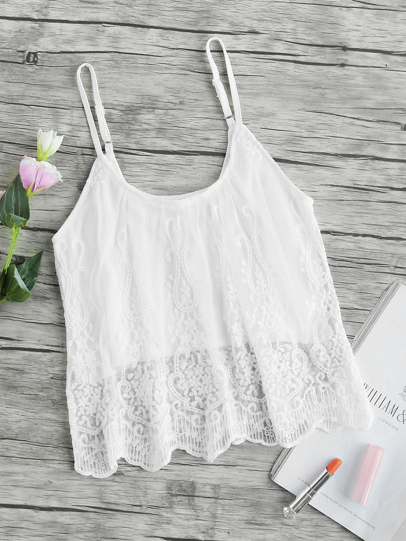 Scallop Embroidered Mesh Overlay Cami Top