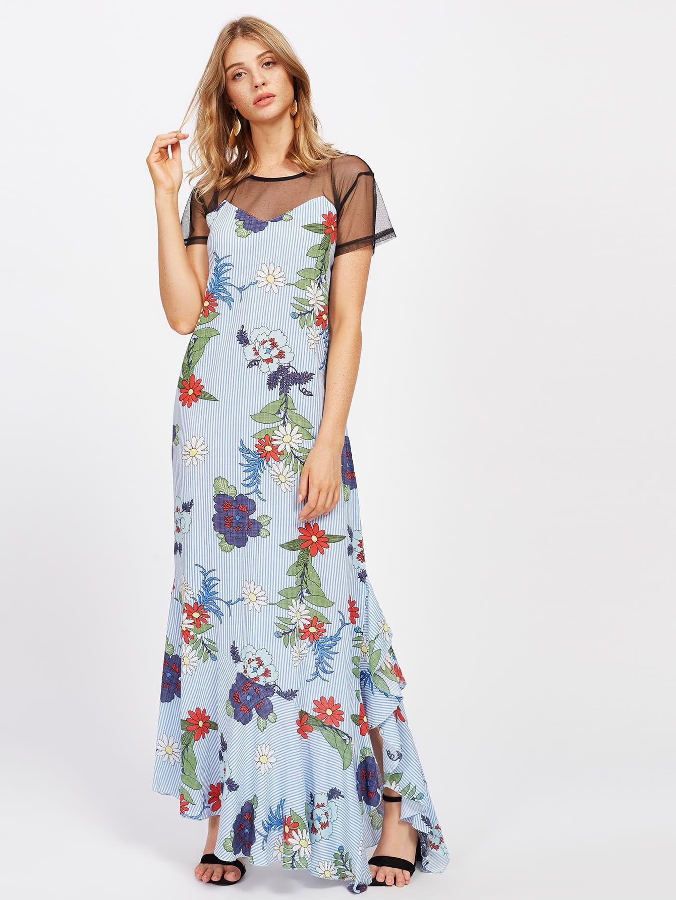 Фото Sheer Mesh Panel Random Florals Frill Hem Striped Dress. Купить с доставкой