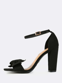 Faux Suede Bow Ankle Strap Heels BLACK