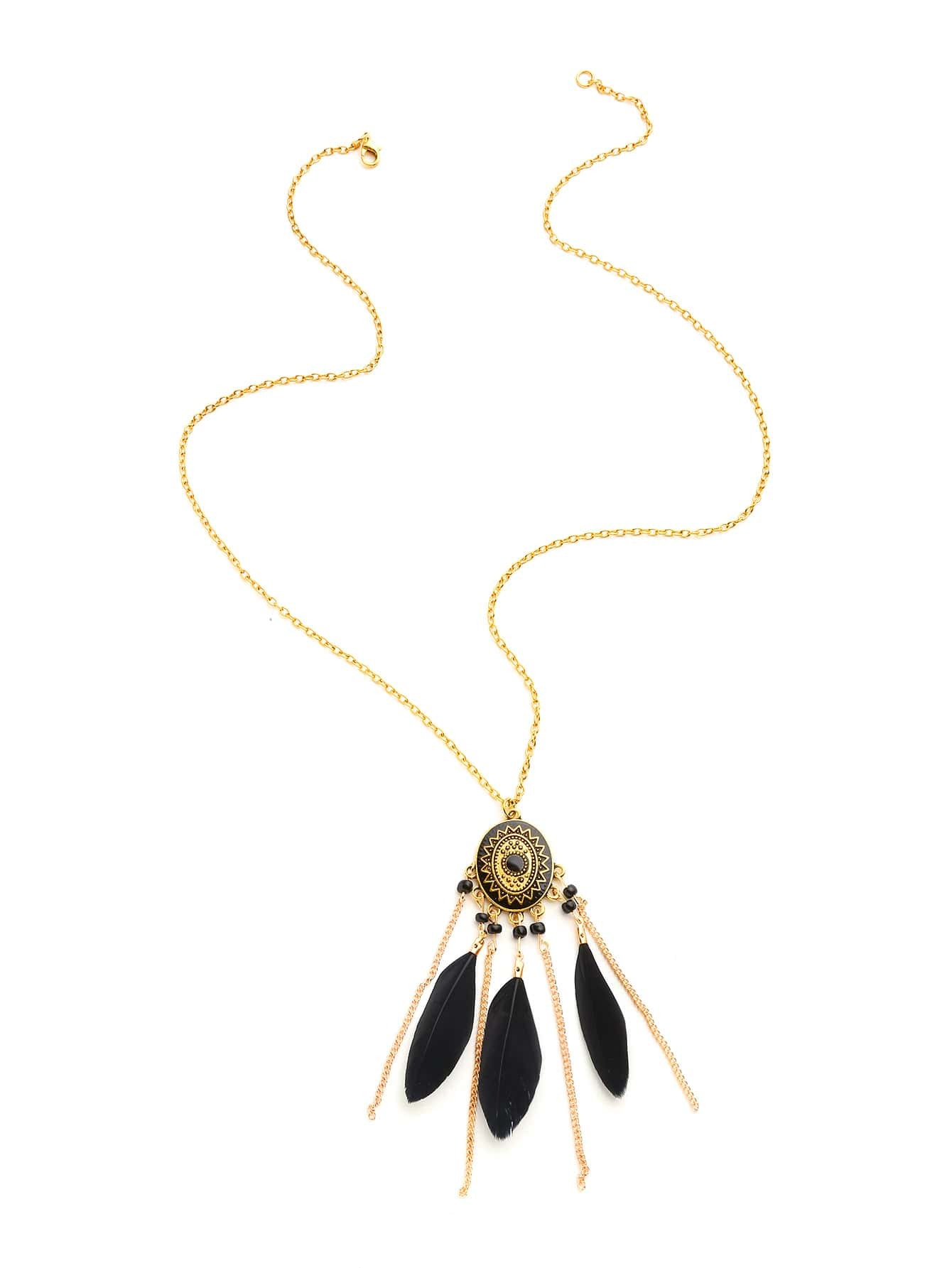 Фото Feather And Chain Tassel Pendant Necklace. Купить с доставкой