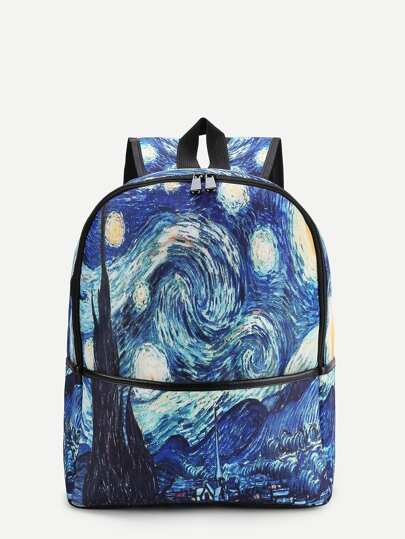 Galaxy Print Canvas Backpack