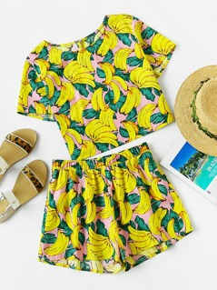 Allover Banana Print Buttoned Keyhole Top And Shorts Co-Ord