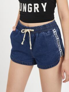 Printed Tape Side Dolphin Hem Denim Shorts