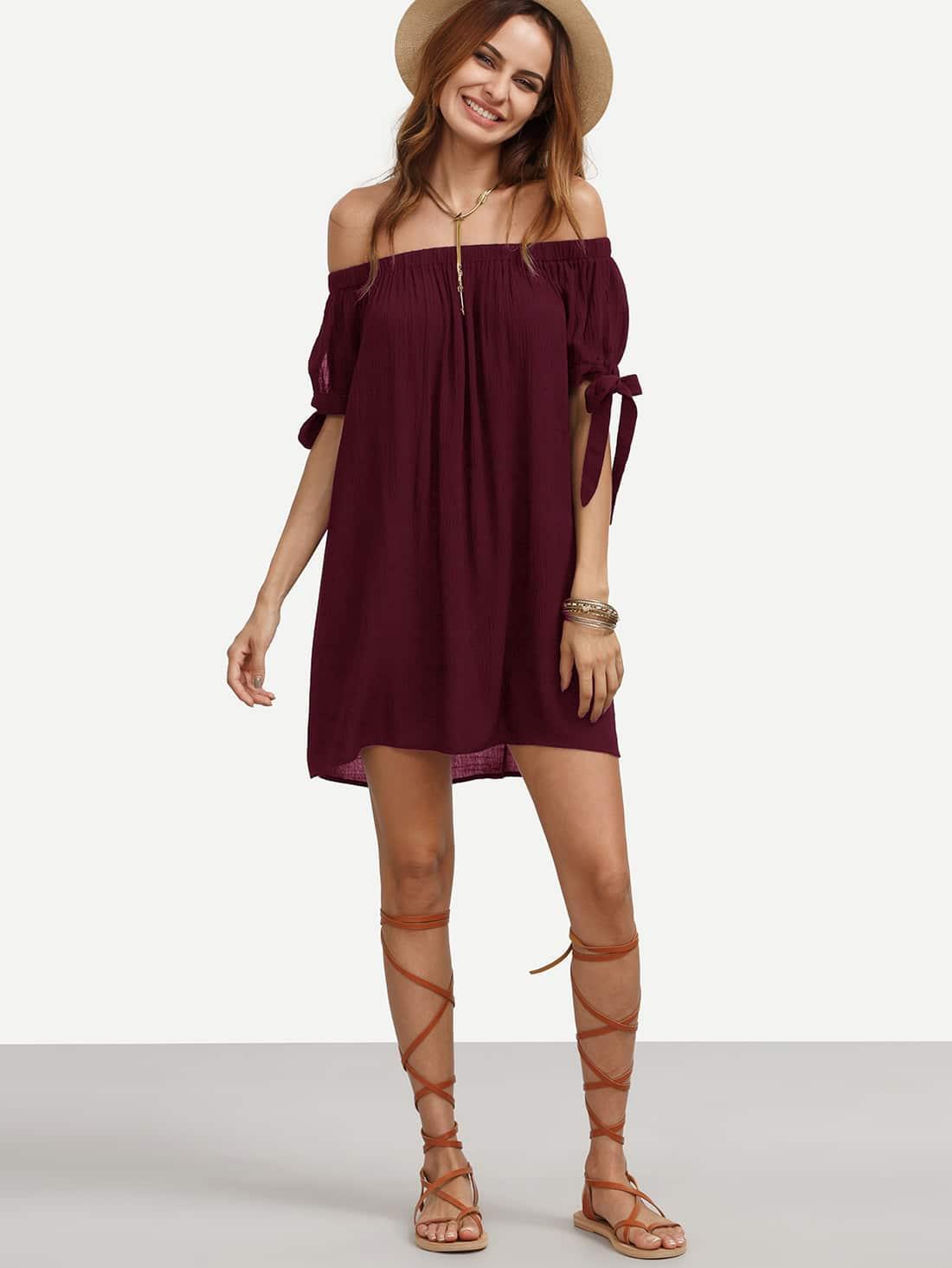 Фото Split Tie Sleeve Crinkle Bardot Dress. Купить с доставкой
