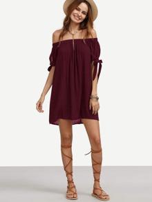 Split Tie Sleeve Crinkle Bardot Dress