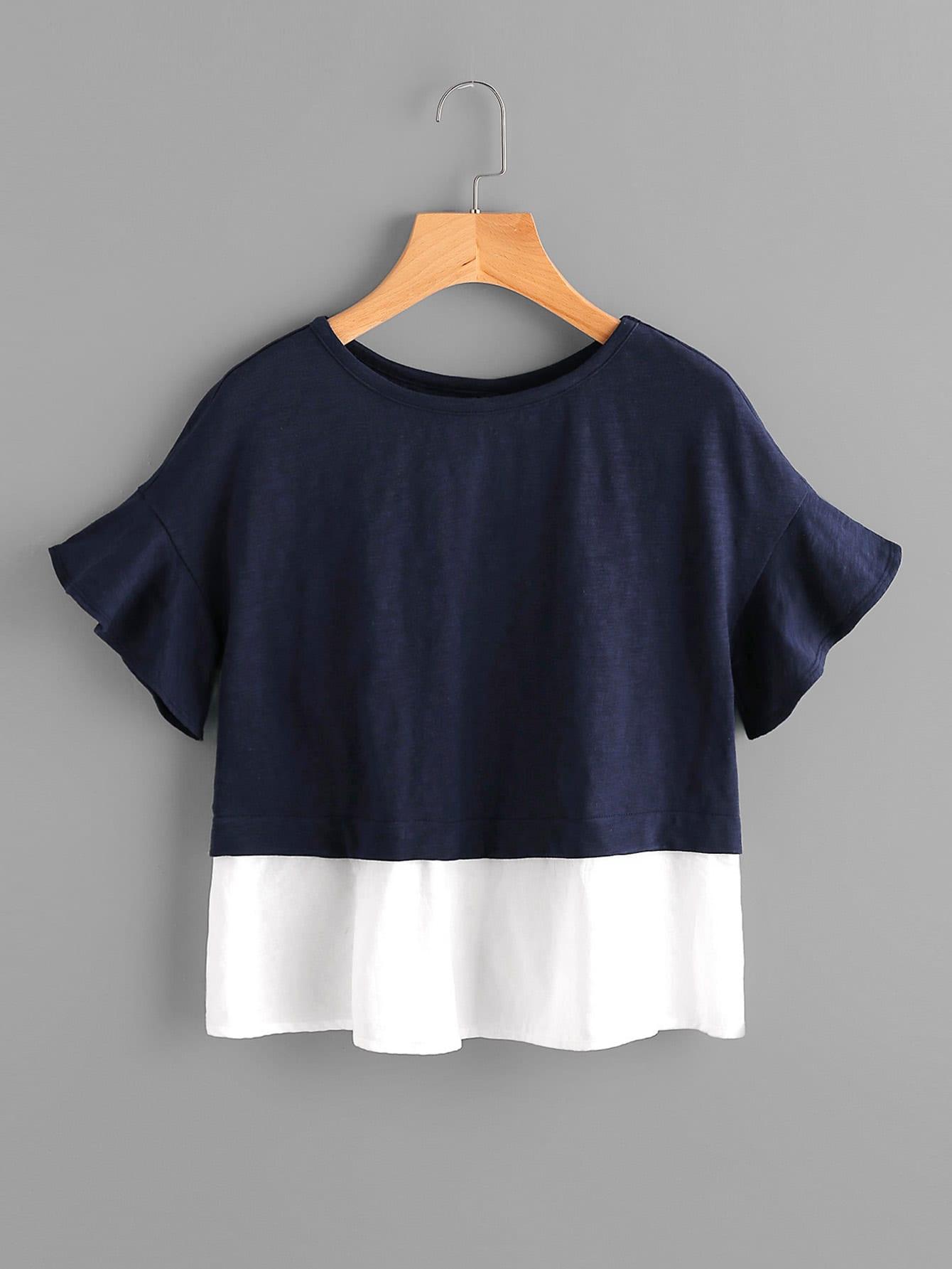 Bell Sleeve Overlap Back Mixed Media T Shirt Shein Sheinside
