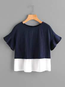 Bell Sleeve Overlap Back Mixed Media T-shirt