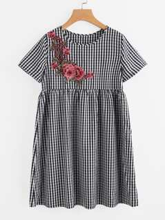 3D Flower Patch Gingham Smock Dress