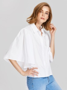 Tied Back Exaggerate Fluted Sleeve Blouse pictures