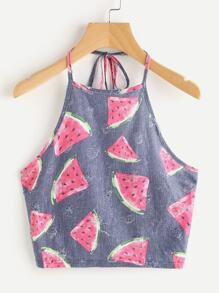 Watermelon Print Frayed Dot Detail Halter Top