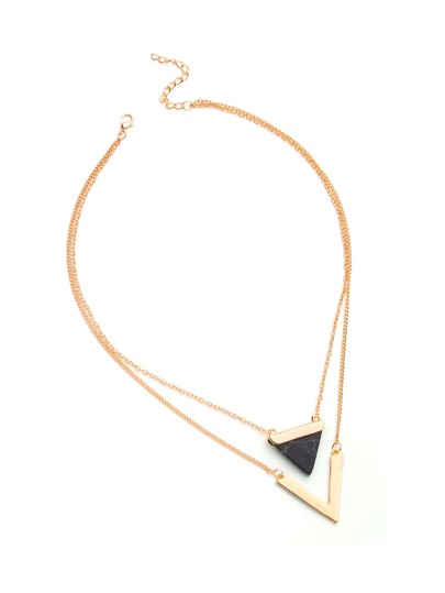 Collier stratifié avec design triangle en forme de V