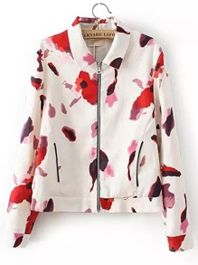 Floral Print Zipper Up Jacket