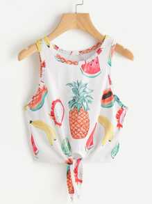 Fruit Print Knot Front Tank Top