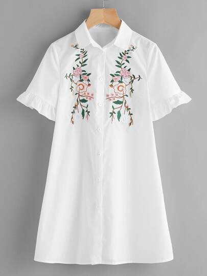 Blossom Embroidered Ruffle Sleeve Shirt Dress