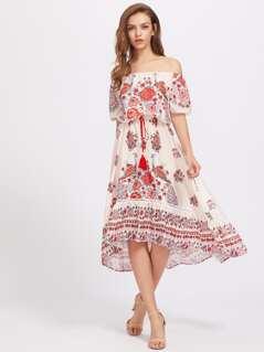 Bardot Floral Print Dress With Fringe