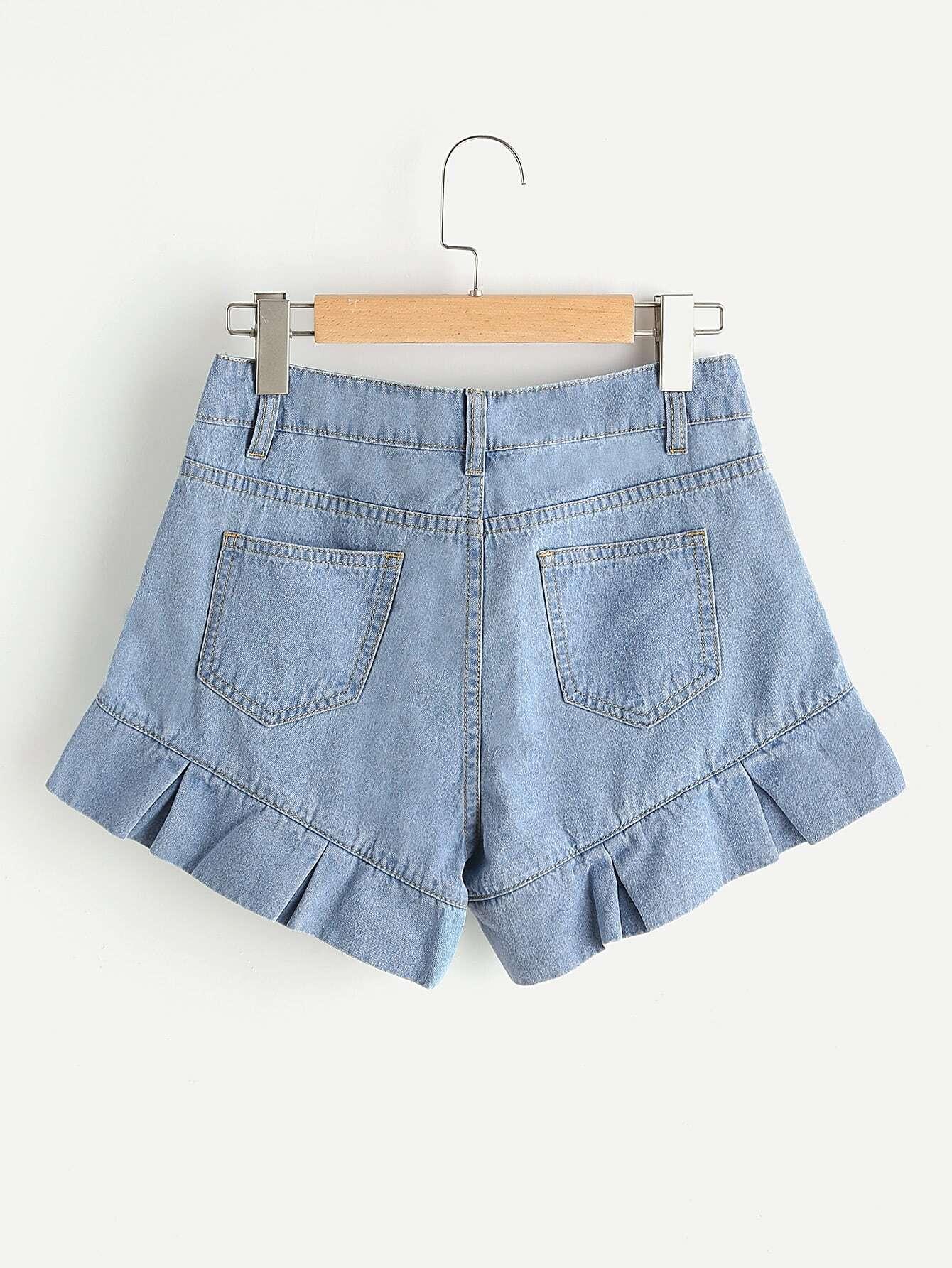 Pleated Ruffle Trim Denim Shorts -SheIn(Sheinside)