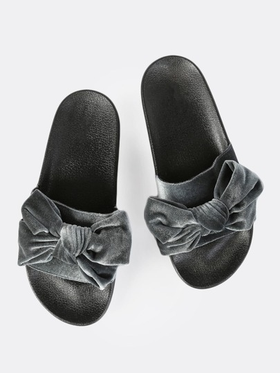 Velvet Bow Slides GREY