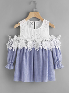 Contrast Eyelet Embroidered Yoke Lace Applique Striped Top