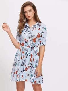 Knot Waist Flower Print Shirt Dress