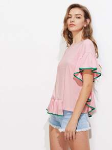 Contrast Binding Frill Trim Stepped Hem Slub Tee pictures