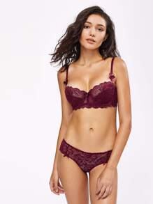 Scallop Trim Lace Underwire Set