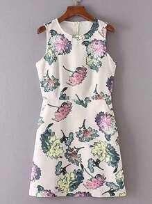 Floral Print Zipper Back Sleeveless Dress