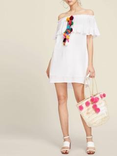 Pom Pom And Tassel Detail Flounce Bardot Dress